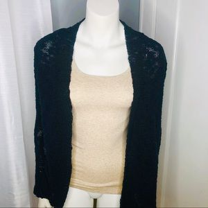 Lucky Brand Cardigan Navy Crocheted Back Medium